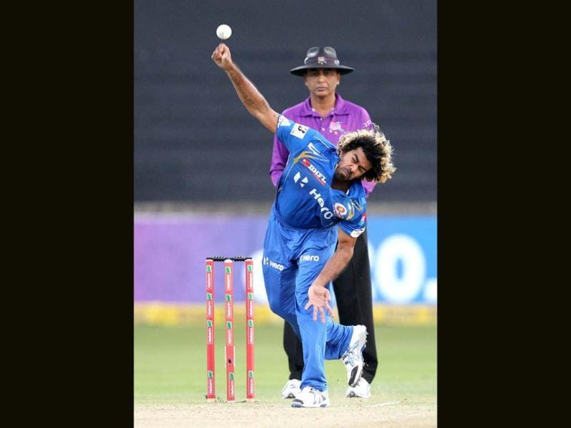 Lasith Malinga of the Mumbai Indians bowls during a Champions League T20 (CLT20) match Sydney Sixers vs Mumbai Indians in Durban. AFP Photo