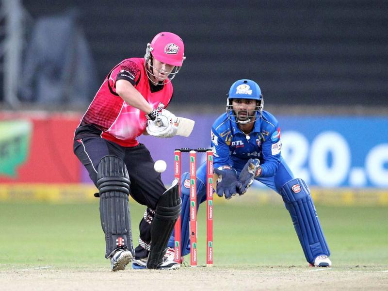 Michael Lumb of the Sydney Sixers bats during a Champions League T20 (CLT20) match Sydney Sixers vs Mumbai Indians at Sahara Stadium Kingsmead in Durban. AFP Photo