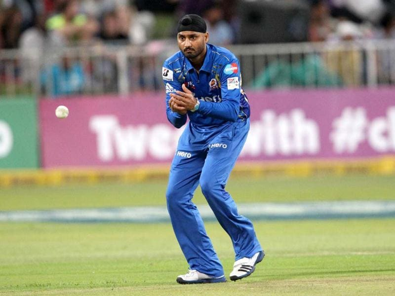 Harbhajan Singh of the Mumbai Indians eyes the ball during a Champions League T20 (CLT20) match Sydney Sixers vs Mumbai Indians at Sahara Stadium Kingsmead in Durban. AFP Photo