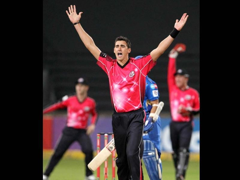 Mitchell Starc of the Sydney Sixers appeals during a Champions League T20 (CLT20) match Sydney Sixers vs Mumbai Indians at Sahara Stadium Kingsmead in Durban. AFP Photo