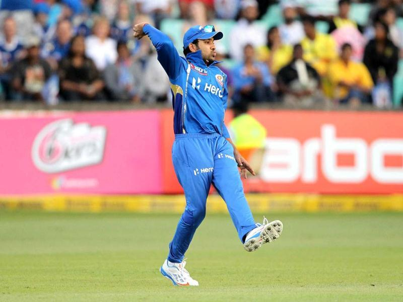 Rohit Sharma of the Mumbai Indians gestures on during a Champions League T20 (CLT20) match Sydney Sixers vs Mumbai Indians in Durban. AFP Photo