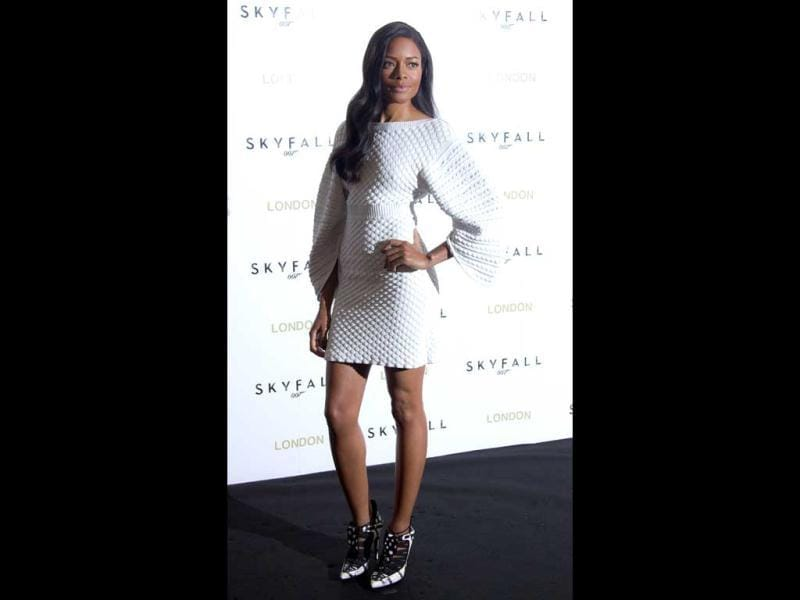 Female Bond: Naomie Harris poses for photographs at the Skyfall photocall at the UK premiere in Dorchester Hotel in central London.