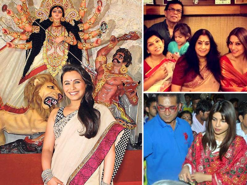 Bollywood actresses celebrate Durga puja, the biggest festival on the Bengali calendar, in full swing. Check out!