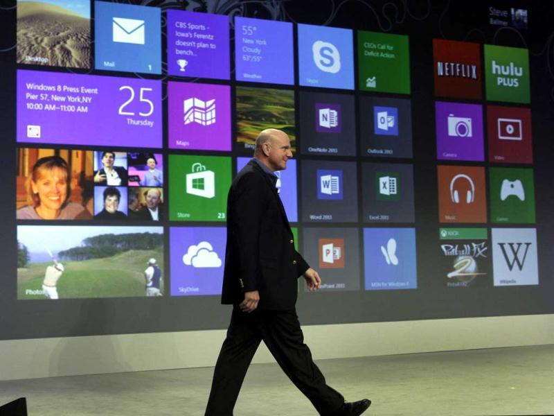 Microsoft CEO Steve Ballmer arrives to give his presentation at the launch of Microsoft Windows 8, in New York. (AP Photo/Richard Drew)
