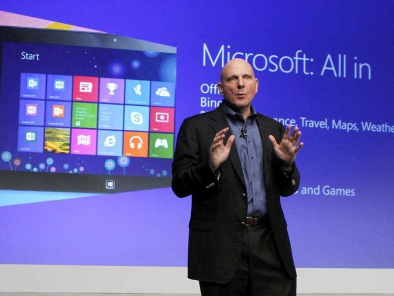 Microsoft CEO Steve Ballmer speaks at the launch event of Windows 8 operating system in New York. Reuters/Lucas Jackson