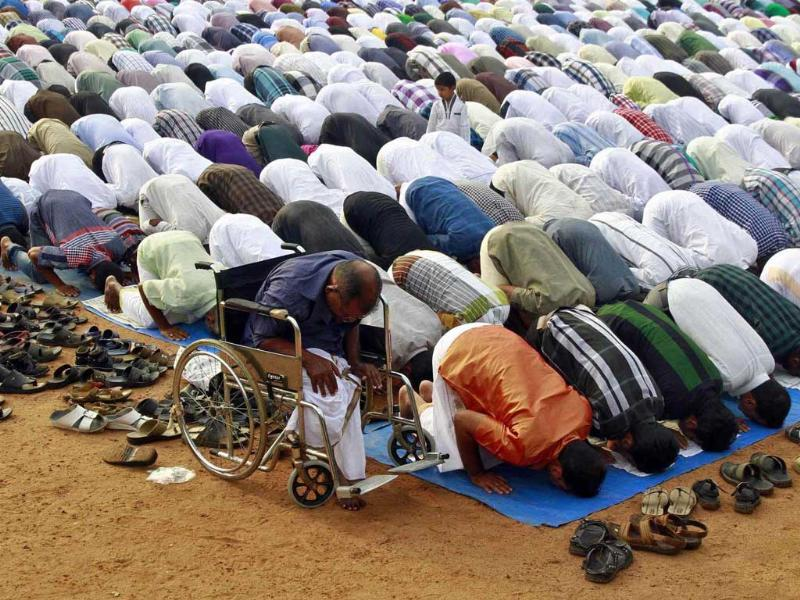 Muslims offer Eid al-Adha prayers at a playground in Kochi, Kerala. Reuters