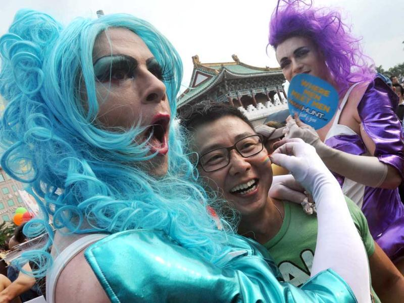 Participants take part in the gay parade in Taipei. AFP Photo/Mandy Cheng
