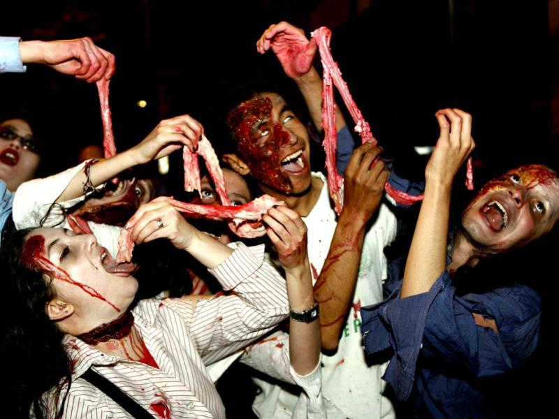 Participants take part in a Zombie Walk ahead of Halloween celebrations in Bogota. Reuters Photo