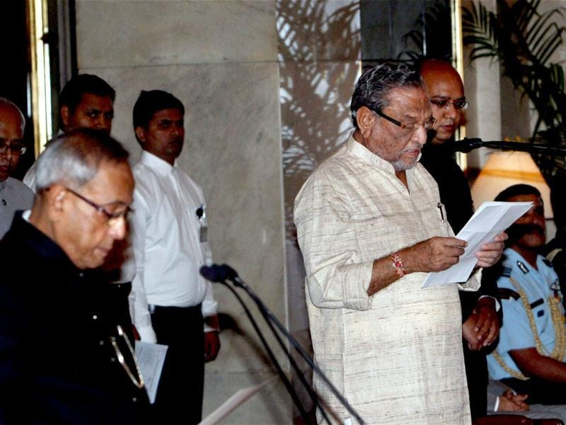 Dinsha Patel is sworn-in as a Union minister by President Pranab Mukherjee during a ceremony at Rashtrapati Bhavan in New Delhi. PTI Photo