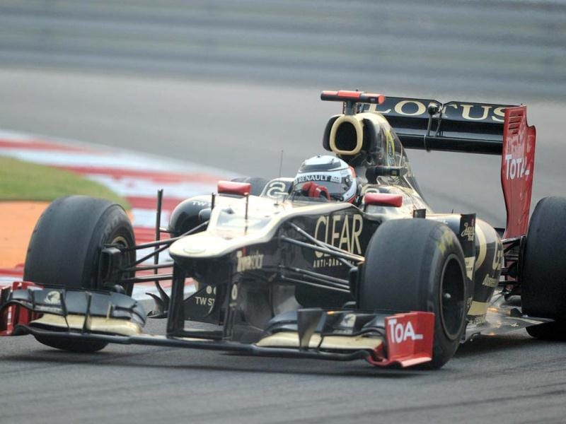 Lotus driver Kimi Raikkonen of Finland powers his car during the Formula One Indian Grand Prix 2012 at The Buddh International circuit in Greater Noida. AFP Photo