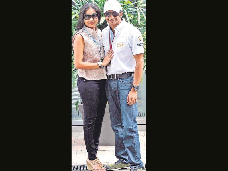 Narain Karthikeyan with wife Pavarna at the Indian F1 Grand Prix at the Buddh International Circuit in Greater Noida. HT photo