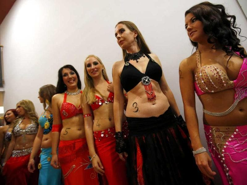 Contestants line up before the Miss Belly-Dance Hungary competition in Budapest. (Reuters)