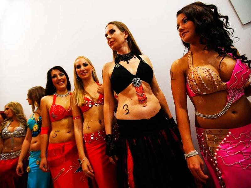 Contestants line up before the Miss Belly-Dance Hungary competition in Budapest. Reuters/Laszlo Balogh