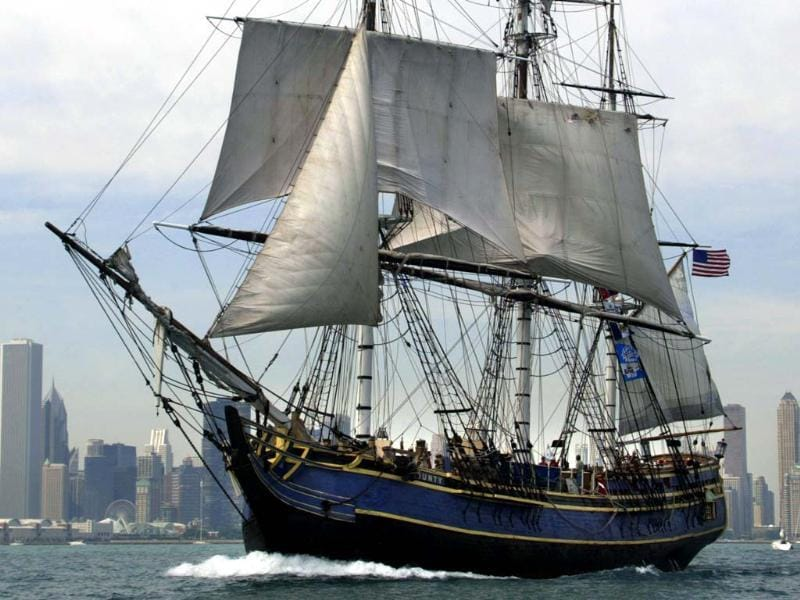 A file photo shows the HMS Bounty sailing past the Chicago skyline. The HMS Bounty crew abandoned the ship due to Hurricane Sandy, the US Coast Guard announced. AFP/Jeff Haynes