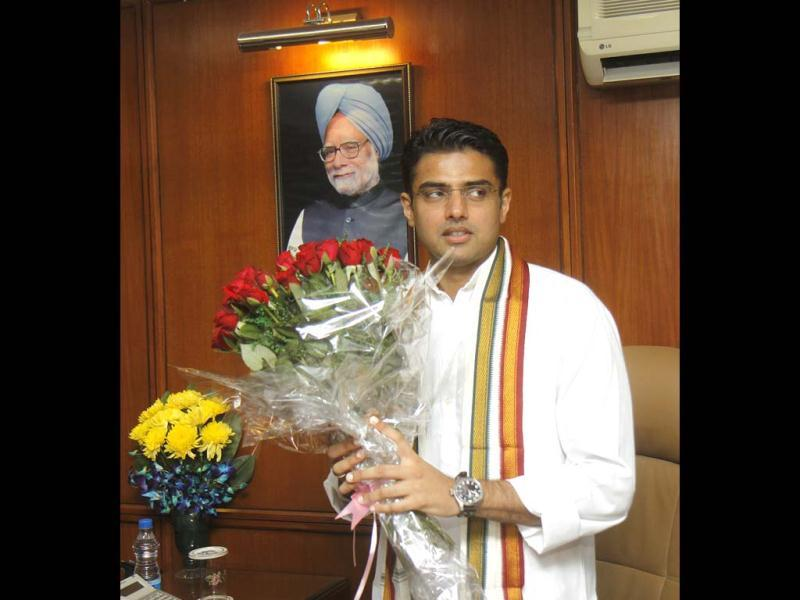 Sachin Pilot assumed charge as the minister of state for corporate affairs (independent charge), at Shastri Bhawan in New Delhi. HT/Vipin Kumar