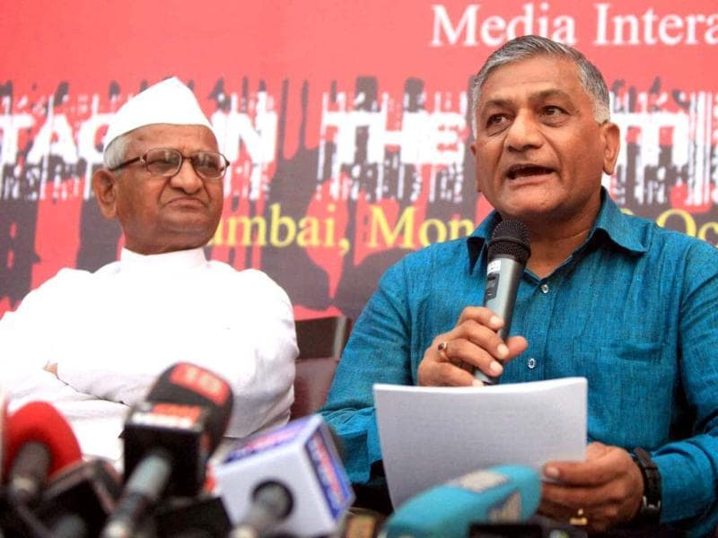 Anna Hazare and former Army chief Gen VK Singh address a press meet in Mumbai. PTI/Shashank Parade