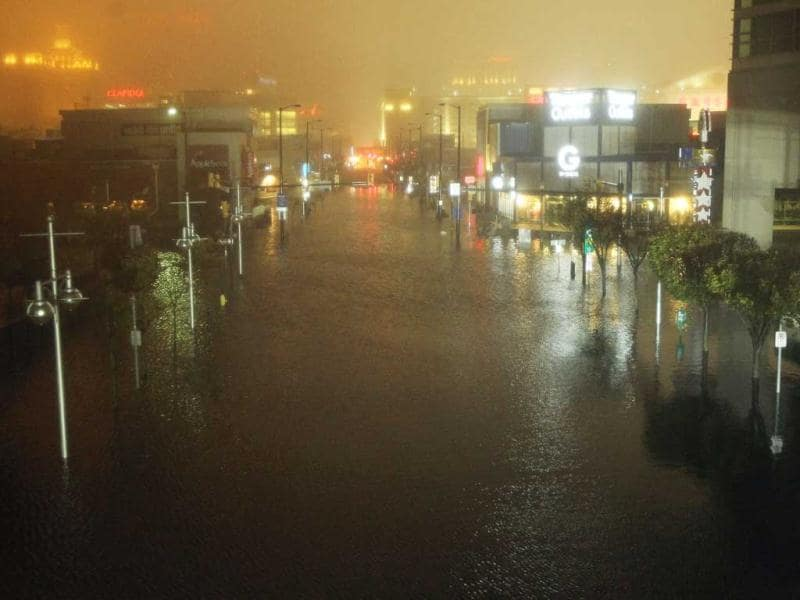 A flooded street is seen at nightfall during rains from superstorm Sandy in Atlantic City, New Jersey. AFP photo