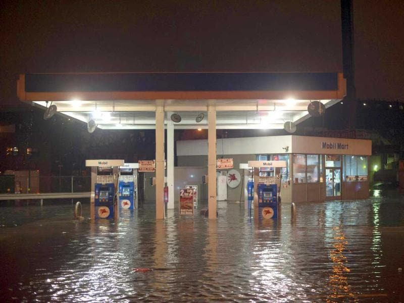 A petrol pump is submerged in flood waters near the Gowanus Canal in the Brooklyn Borough of New York. Reuters photo