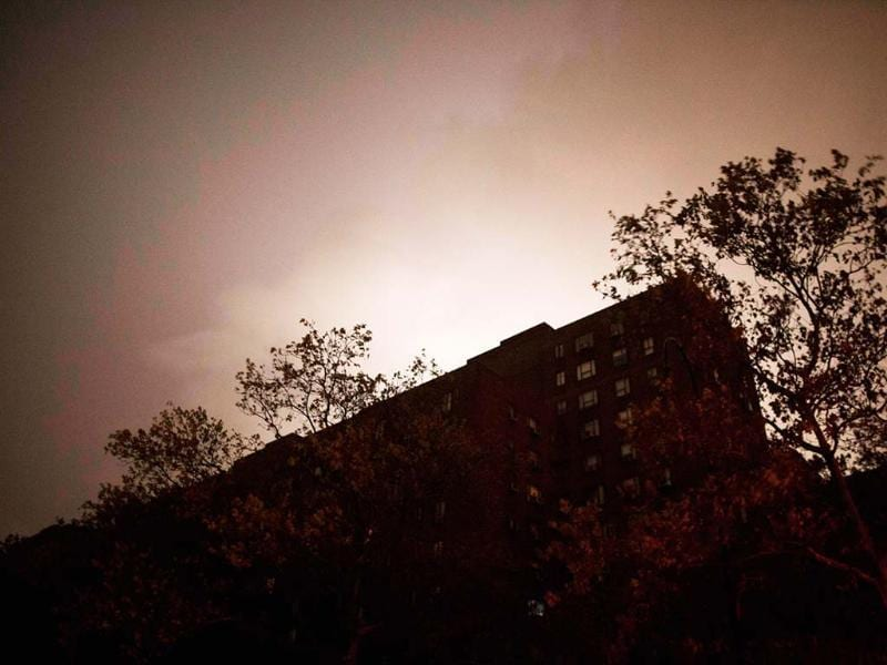 A view of a building in Manhattan's East Village hit by blackouts due to a power outage from rising waters as superstorm Sandy makes its approach in New York. Reuters photo