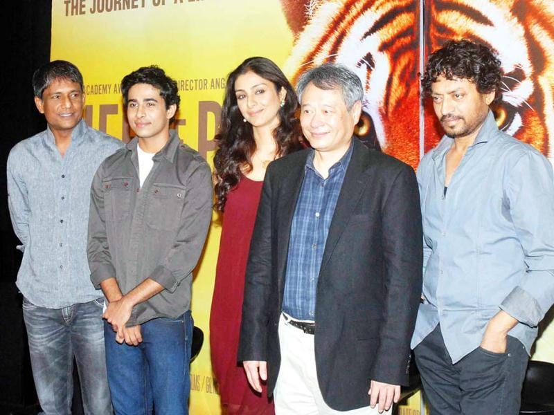 Cast & crew (L-R): Adil Hussain (Pi's father), Suraj Sharma (Pi Patel), Tabu (Pi's mother), director Ang Lee and Irrfan Khan (Older Pi)