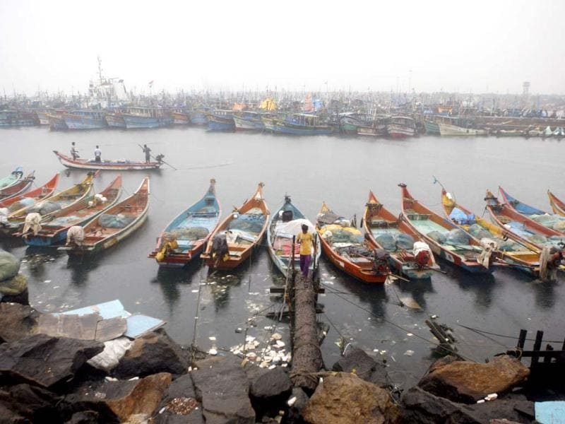 Fishing boats are anchored at the Bay of Bengal coast in Chennai. AP Photo