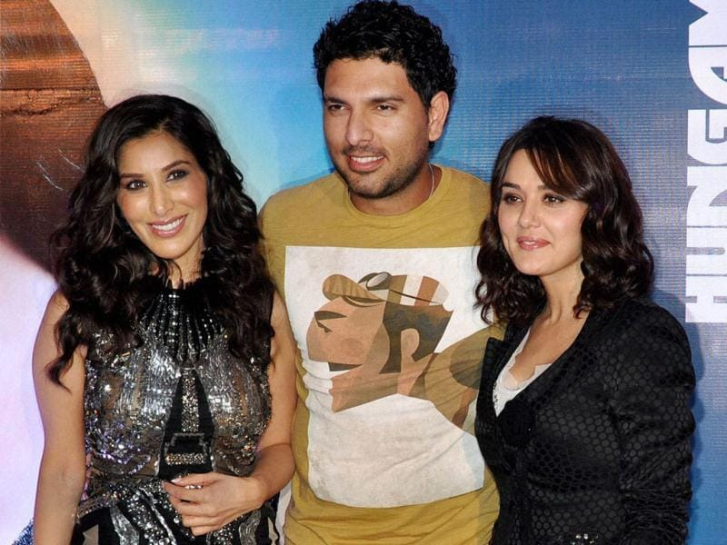 Preity Zinta, cricketer Yuvraj Singh and Sophie Choudry at the launch. (PTI Photo)