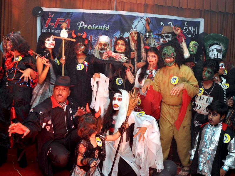 Students of school of art and design participating in Horror Fashion Show on the occasion of World Halloween Day at Ranchi. Agencies