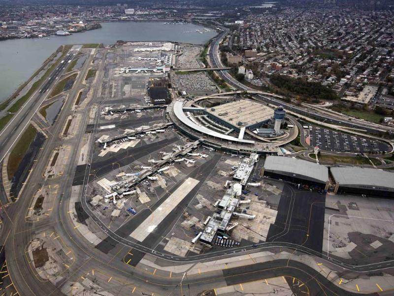 An aerial view of the LaGuardia airport in New York. New York City and the sodden US northeast began an arduous journey back to normal after mammoth storm Sandy killed at least 64 people in a rampage that swamped coastal cities and cut power to millions. Reuters/Adrees Latif