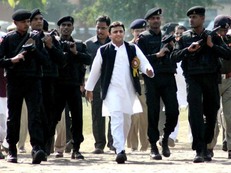 Uttar Pradesh chief minister Akhilesh Yadav arrives to attend a college function in Gorakhpur. PTI Photo