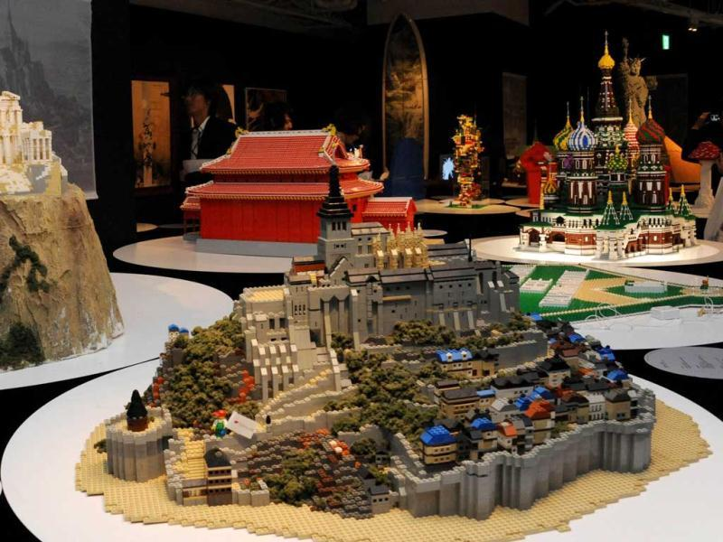 France's World Heritage Mont-Saint Michel (R) and Greece's Acropolis (L), made of pieces of Lego blocks, are displayed at a press preview in Tokyo. Forty World Heritage architectures are displayed at an exhibition