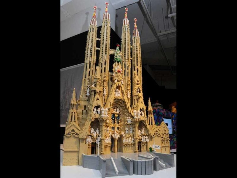 Spain's World Heritage the Church of the Sagrada Familia, made of pieces of Lego blocks, is displayed at a press preview in Tokyo. Forty World Heritage architectures are displayed at an exhibition
