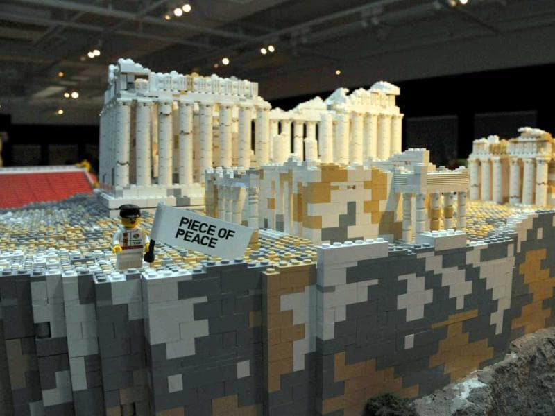 Greece's Acropolis, made of pieces of Lego blocks, is displayed at a press preview in Tokyo. Forty World Heritage architectures are displayed at an exhibition