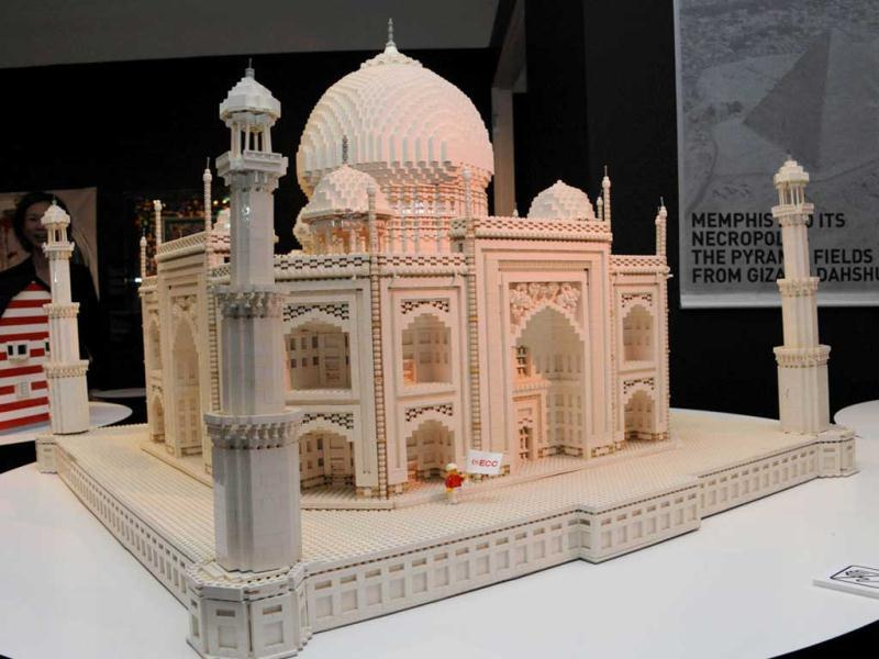 India's World Heritage Taj Mahal, made of pieces of Lego blocks, is displayed at a press preview in Tokyo. Forty World Heritage architectures are displayed at an exhibition