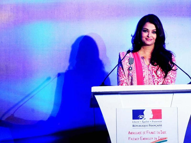 Aishwarya Rai Bachchan speaks before being conferred with the French civilian award (AFP Photo)