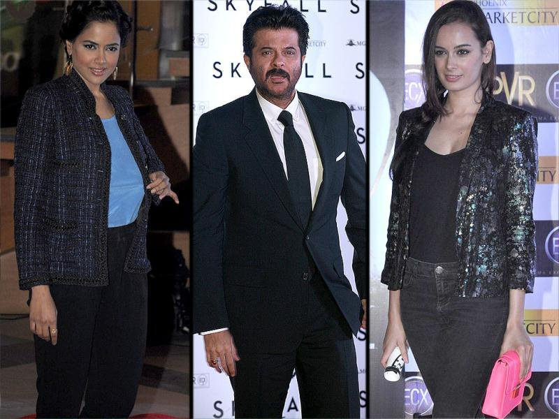 Bollywood couples and other celebrities lined up in numbers for the premiere of the 23rd James Bond film, Skyfall.