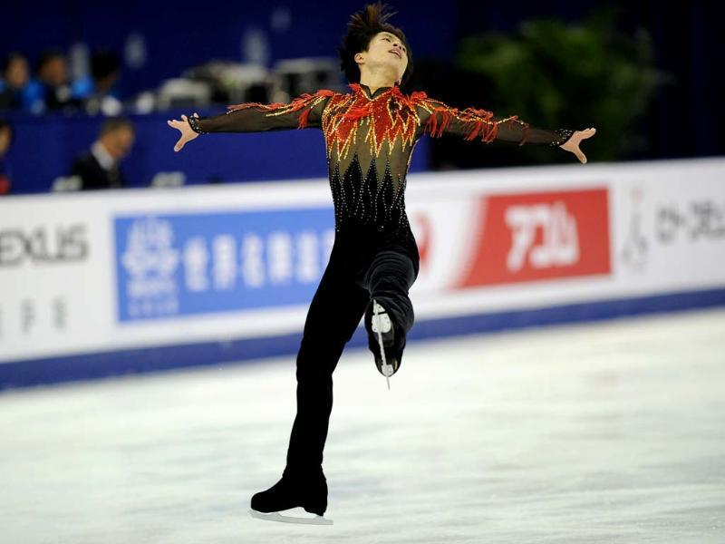 Tatsuki Machida of Japan performs his routine in the Mens Free Skating program during the Cup of China, the third event on the ISU Grand Prix figure skating tour, in Shanghai. AFP photo