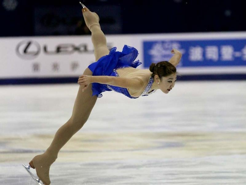 Mirai Nagasu of the United States performs during the Ladies free skating at the ISU Grand Prix of Figure Skating Cup of China in Shanghai. AP photo
