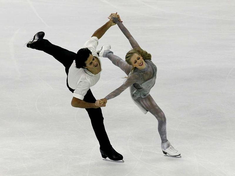 Canadians Kaitlyn Weaver and Andrew Poje perform during the Ice Dancing free dance at the ISU Grand Prix of Figure Skating Cup of China Figure Skating competition in Shanghai. AP photo