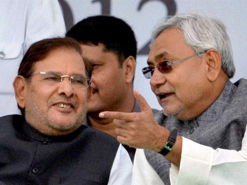Bihar chief minister Nitish Kumar and JD(U) National president Sharad Yadav are seen during the party's Adhikar rally in Patna. PTI