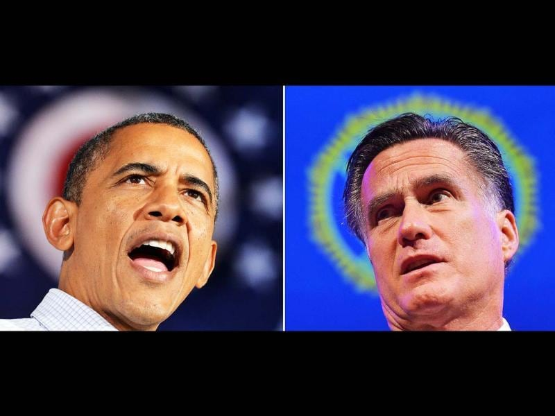 A combination photo shows US Republican presidential candidate Mitt Romney speaking in Indianapois, Indiana, and US President Barack Obama at a campaign rally in Mentor, Ohio. AFP