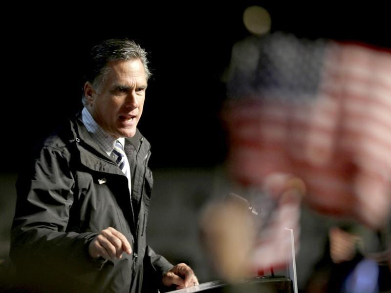 Republican presidential candidate Mitt Romney speaks during a campaign event at the Newport News International Airport in Newport News, VA. AP/David Goldman