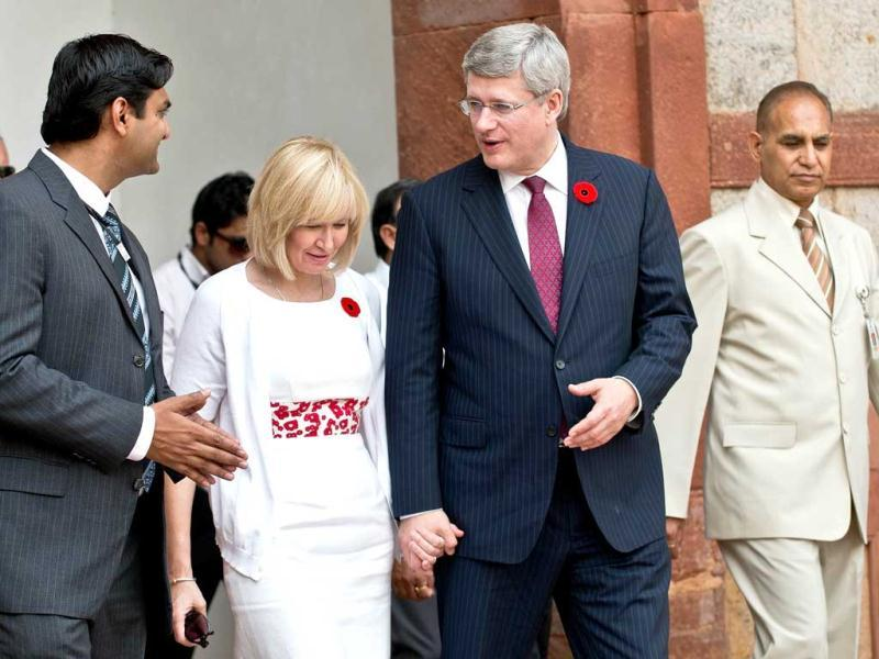 Prime Minister of Canada Stephen Harper and his wife Laureen Harper arrive at Humayun's Tomb in New Delhi. AFP Photo/Prakash Singh