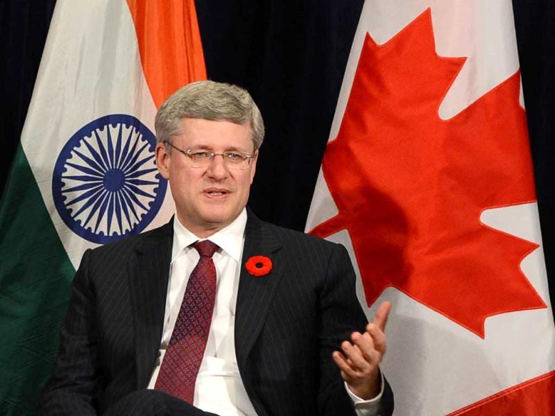 Canadian Prime Minister Stephen Harper takes part in a business round table in New Delhi. AP Photo/Sean Kilpatrick