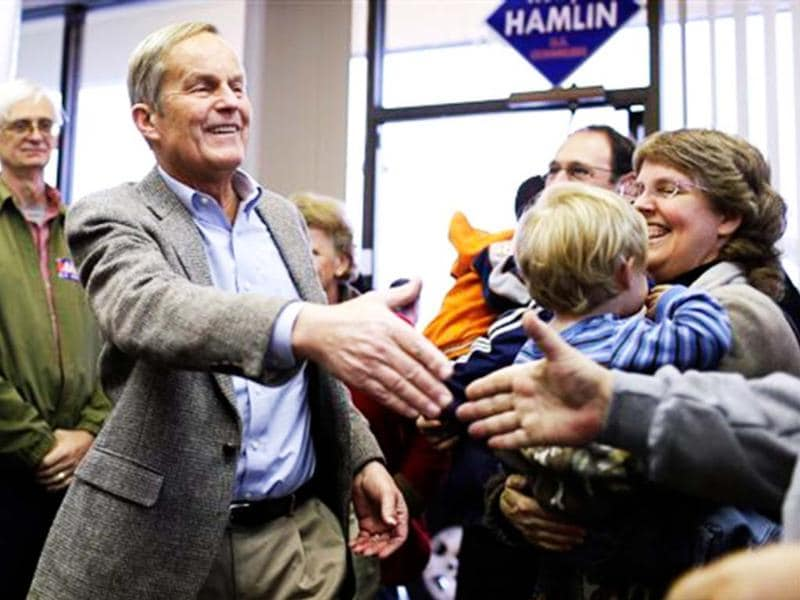 Missouri Republican Senate candidate, Rep Todd Akin, visits with supporters during a stop to a Republican campaign office in Florissant, Mo. AP/Jeff Roberson