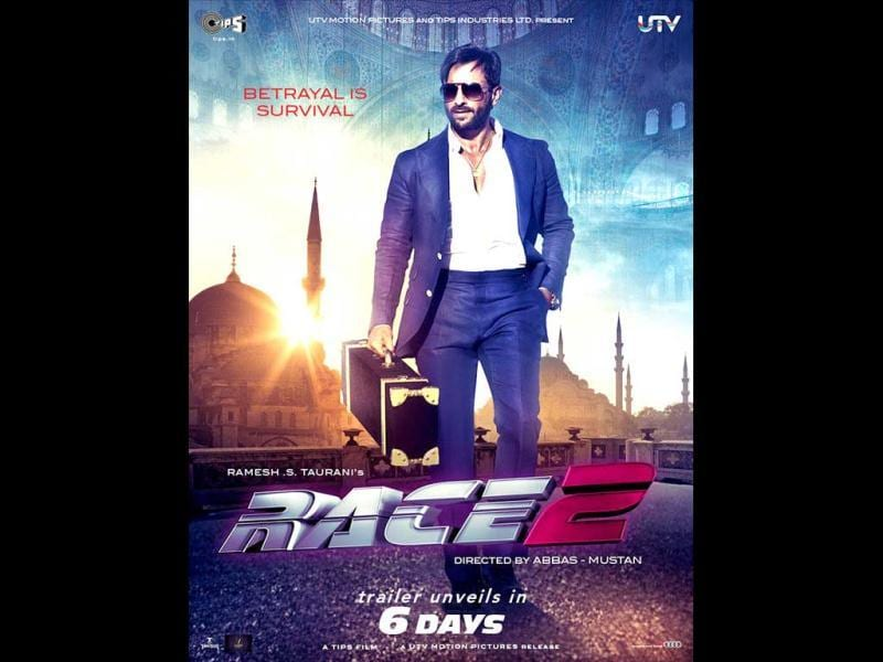 Saif Ali Khan looks a dapper in Race 2 poster. Saif will keep a leaner, rugged look in the sequel.