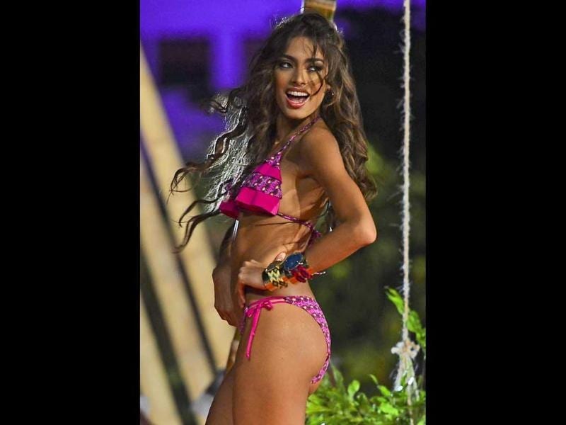 Providencia department's contestant San Andres during Parade in Swim suit in Cartagena, Colombia. Twenty-five women from all Colombian departments are competing for the Miss Colombia crown. AFP photo