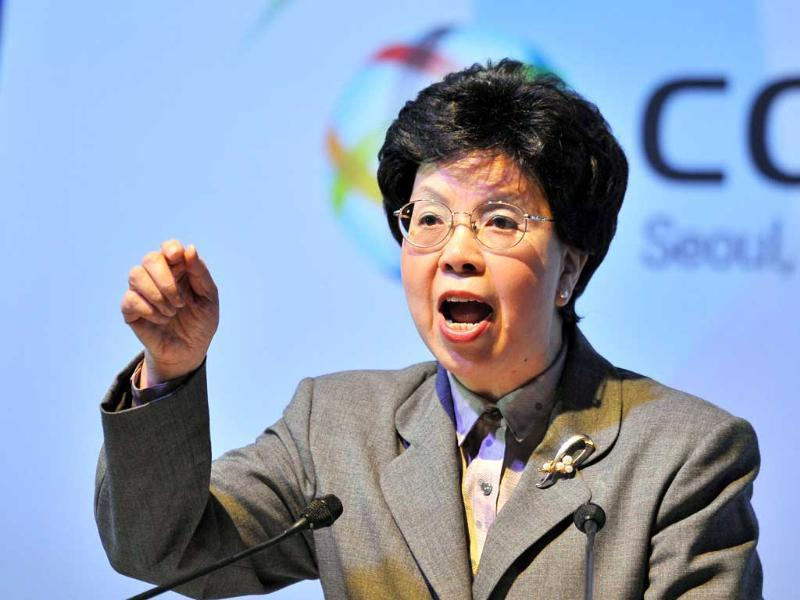 World Health Organisation (WHO) director-general Margaret Chan delivers a speech during a meeting of the WHO's Framework Convention on Tobacco Control (FCTC) in Seoul. AFP