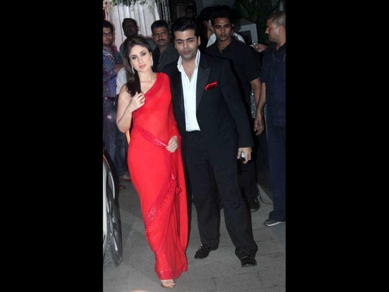 Kareena Kapoor, who looked red hot, arrived with Karan Johar.