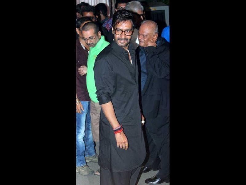 Ajay Devgn, who has featured in all of Rohit Shetty's films till date, wore a black Pathani kurta.