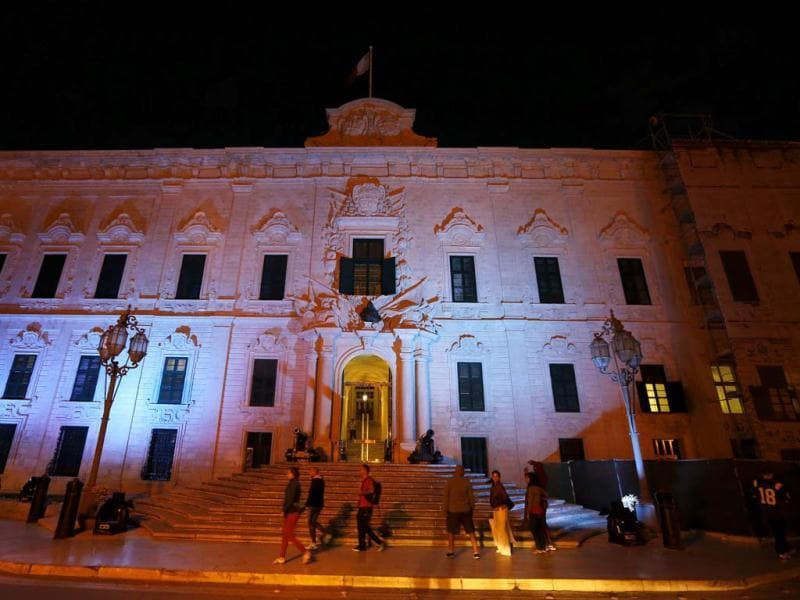 The facade of the Auberge de Castille, which serves as the office of the prime minister, is lit in blue as part of a World Diabetes Day (held on November 14 annually) awareness programme in Valletta. (Reuters)